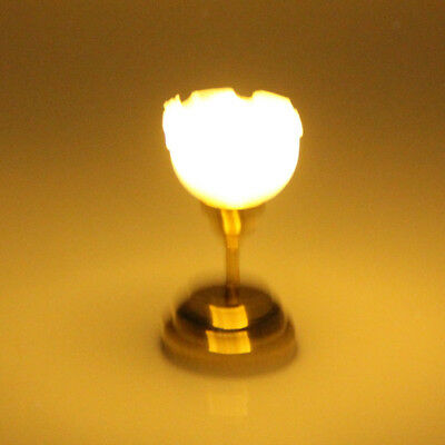 Dolls House LED working Ceiling Light lamp with Fluted Shade battery 12th