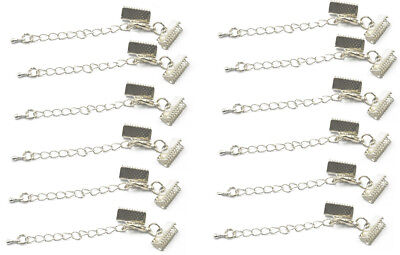 12 Ends Set with Lobster Clasp and Extender Chain Necklace DIY Silver 6*13mm