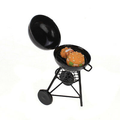 Dolls House Miniature Outdoor Picnic Charcoal Barbecue BBQ Grill oven Black