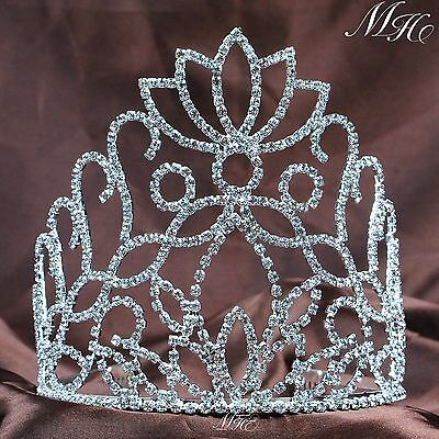 Floral Tiaras w/ Hair Combs Brides Crowns Clear Crystal Headband Wedding Pageant