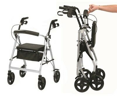 Ultra lightweight rollator wheeled walking frame 4 wheel walker in silver