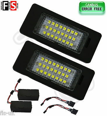 2 X Audi Vw Number Plate Lights White Led 24Smd Canbus 100% Error Free