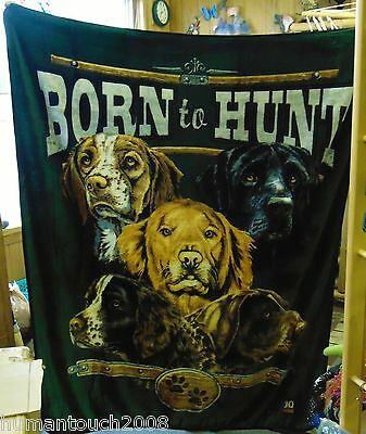 "Robert Schmidt Collection Polyester  Fleece Nature ""born To Hunt"" Dog Blanket"