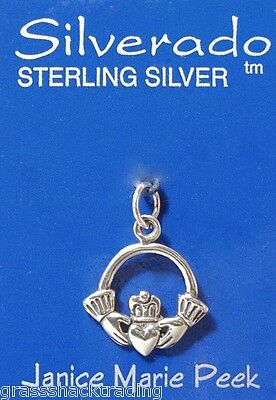 CLADDAGH IRISH CELTIC Solid Sterling Silver Pendant - Charm w/ Options