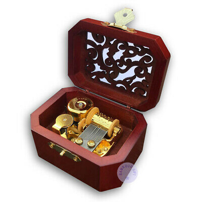 Brown Wooden Hollow out Music Box With Sankyo Musical Movement (48 Tunes Option)