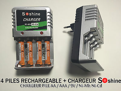 4 PILES ACCUS RECHARGEABLE AAA LR03 1.2V 2400mAh Ni-Mh + CHARGEUR SOSHINE 2016