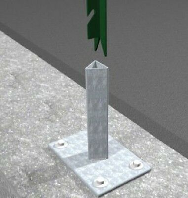 galvanized support with footplate for 'T' post stake (30x30x3.5) for fences