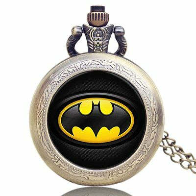 Classic Steampunk Mens DC Super Hero Batman Necklace Pocket Watch Xmas Gift