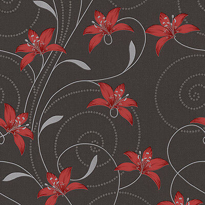 Atlanta Red and Black Floral Wallpaper Washable Textured Vinyl 95700-2