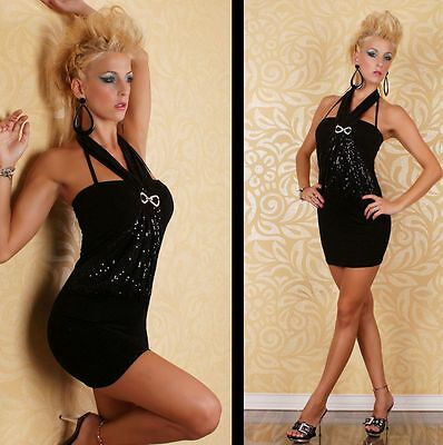 Black Sequin Embellished Sexy Party Halter Backless Mini Dress 8 10 12