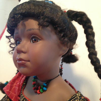 Laquisha - Porcelain African American Seated Doll  by  William Tung