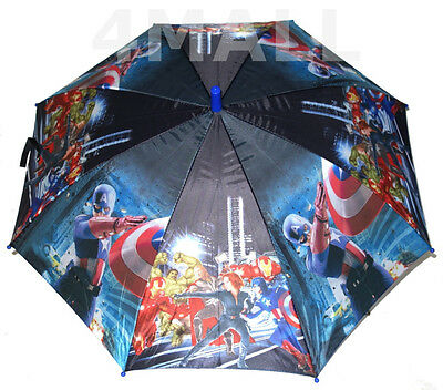 Kids Boys Rain Proof Umbrella The Avengers Hulk American Captain Raincoat Gift