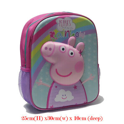 New Kids Girls Shoulder School Bag Backpack Rucksack Peppa George Pig Large
