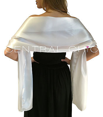 Stunning Silky Satin Bridal Wrap Stole Shawl Pashmina Scarf Weddings Bridesmaids