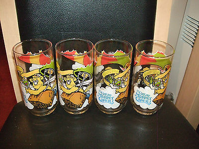 Set Of 4 Mcdonalds 1981 Muppets Caper Glasses For Collector Or Everday Use Vgcc