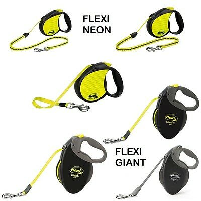 Flexi Giant Neon Retractable Dog Lead Adjustable Reflective Pet Training Leash