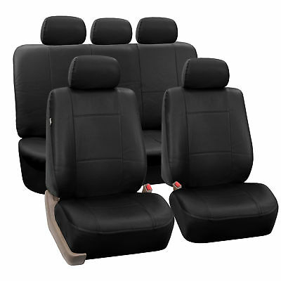 Faux Leather Car Seat Covers For Auto SUV Truck Black