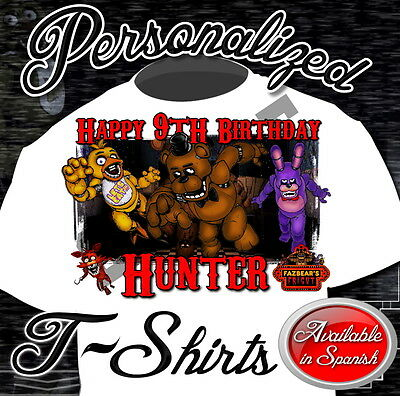 New Custom Five Nights At Freddy`s Birthday T Shirt Party Favor Fnaf Gift