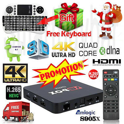 4K Quad Core Android 6.1 TV BOX Wifi Media Player  Adult Kids Ultra Sport Movies