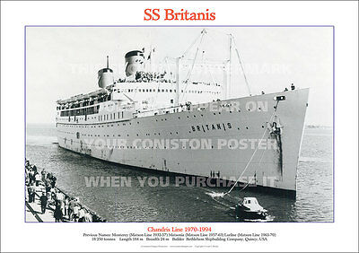 SS BRITANIS CHANDRIS LINE SHIP A3 POSTER PRINT PICTURE PHOTO IMAGE x