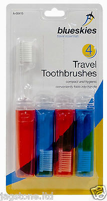 4 Travel Toothbrushes Fold Up Foldable Toothbrush Holiday Red Blue Compact