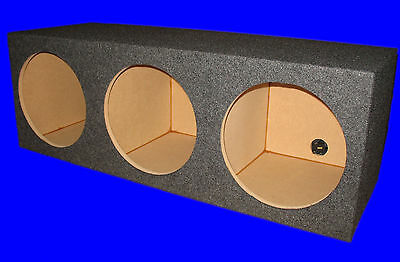 "3 Three Hole 10"" Chambered Grey Subwoofer Sub Speaker Enclosure Box"