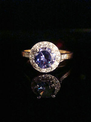 Edwardian Style 9Ct Yellow Gold On Silver Iolite Cz Ring
