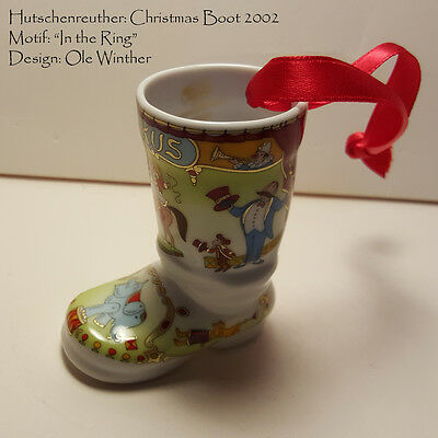 "HUTSCHENREUTHER 2002 CHRISTMAS BOOT ORNAMENT ""In The Ring"" Ole Winther"