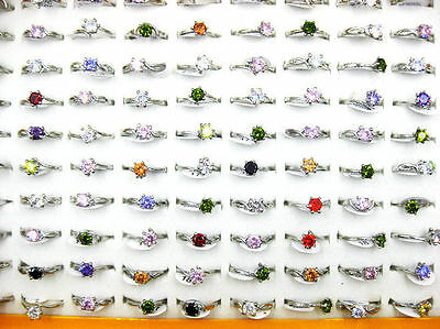 Wholesale Mixed Lots 10pcs Resale Zirconia Stainless Steel Women's Rings J43