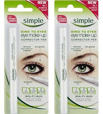 2 x SIMPLE EYE MAKE UP CORRECTOR PEN KIND TO EYES 100% Brand New