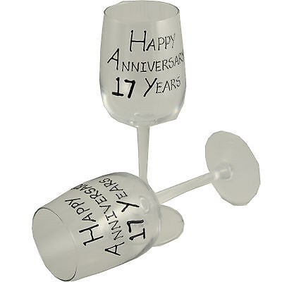 17th Year Wedding Anniversary Pair of Wine Glasses (Black/Silver)