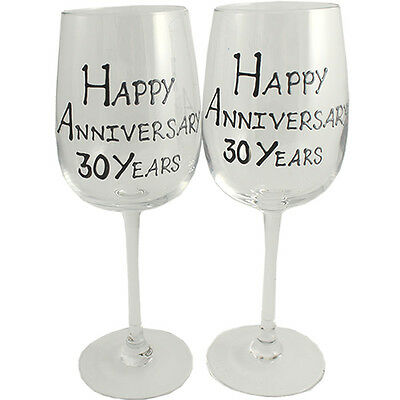 30th Year Wedding Anniversary Pair of Wine Glasses (Black/Silver)