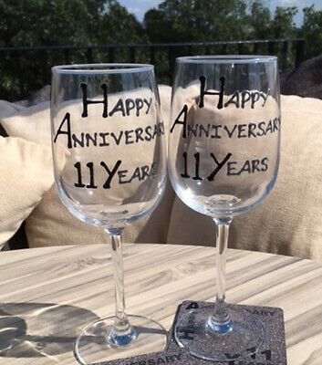 11th Year Wedding Anniversary Pair of Wine Glasses (Black/Silver)