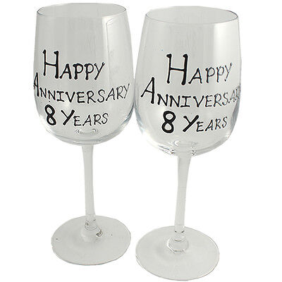 Personalised 8 Year (Bronze) Wedding Anniversary Pair of Wine Glasses (Blk/Sil)