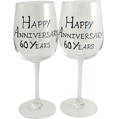 Personalised 60 Year (Diamond) Wedding Anniversary Wine Glasses (Blk/Sil)