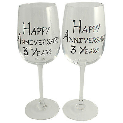 Personalised 3 Year (Leather) Wedding Anniversary Pair of Wine Glasses (Blk/Sil)