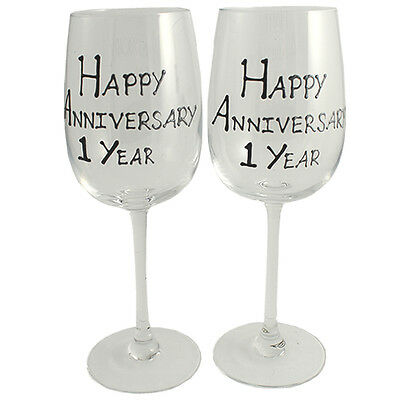 Personalised 1 Year (Paper) Wedding Anniversary Wine Glasses (Blk/Sil)