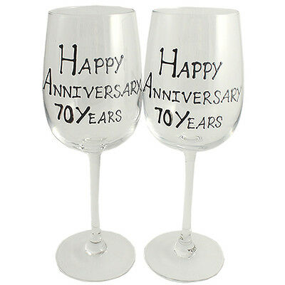 70th Year Wedding Anniversary Pair of Wine Glasses (Black/Silver)