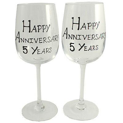 Personalised 5 Year (Wood) Wedding Anniversary Pair of Wine Glasses (Blk/Sil)