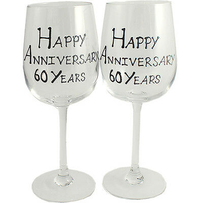 60th Year Wedding Anniversary Pair of Wine Glasses (Black/Silver)
