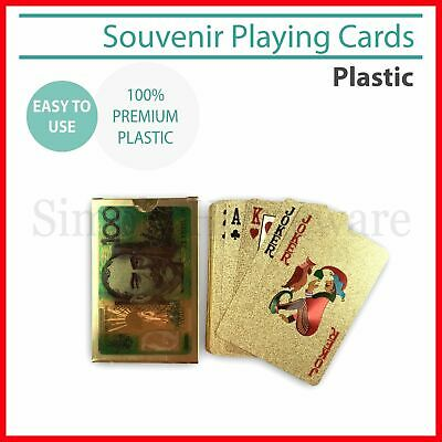 Playing Cards Gold Plastic Decks Card Games Souvenir Deck Australian & US Dollar