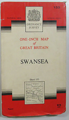 1966 old vintage OS Ordnance Survey seventh series one-inch Map 153 Swansea
