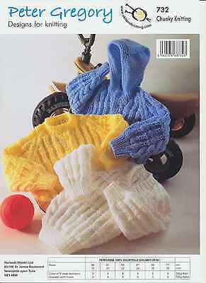 Chunky Knitting Pattern Baby Long Sleeved Sweater & Hooded Sweater PG 732