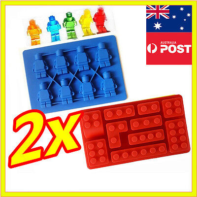 Lego Brick Ice Chocolate Cube Tray Multi Minifigure Silicone Molds Jelly Moulds