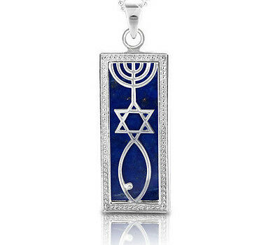 925 Sterling Silver Grafted Messianic Star of David Menorah Fish Pendant in Blue