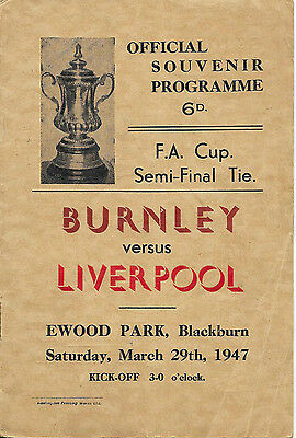 Burnley v Liverpool, 1946/47 - FA Cup Semi-Final Match Programme.