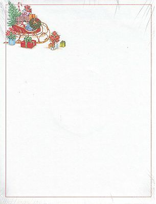"Williamhouse Christmas Letterhead Printer Paper ""Holiday Sleigh"" 100 Sheets"