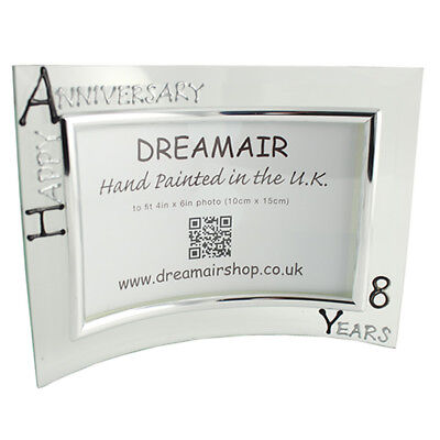 Personalised 8 Year Wedding (Bronze) Anniversary Frame (L) (Blk/Sil)