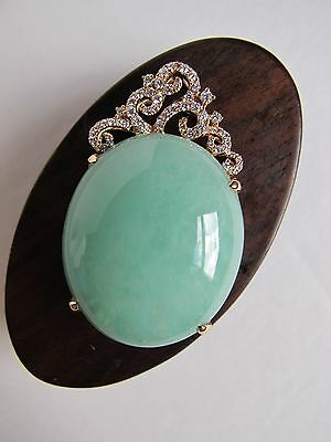 100% Natural type A Jadeite Jade Cabochon set with diamonds in 18k Rose Gold