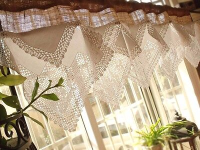 "CUSTOM 54"" ANTIQUE Lace French Roses Valance BURLAP Curtain SHABBY Rustic Chic"